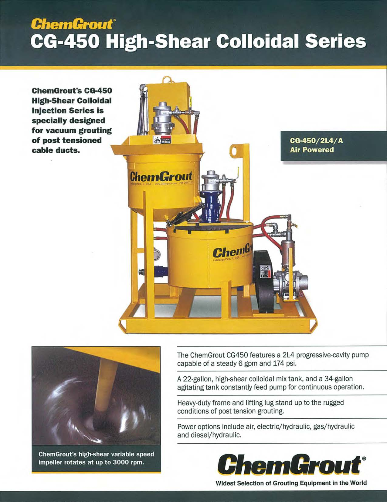 ChemGrout CG450 High Shear Colloidal Grout System Brochure