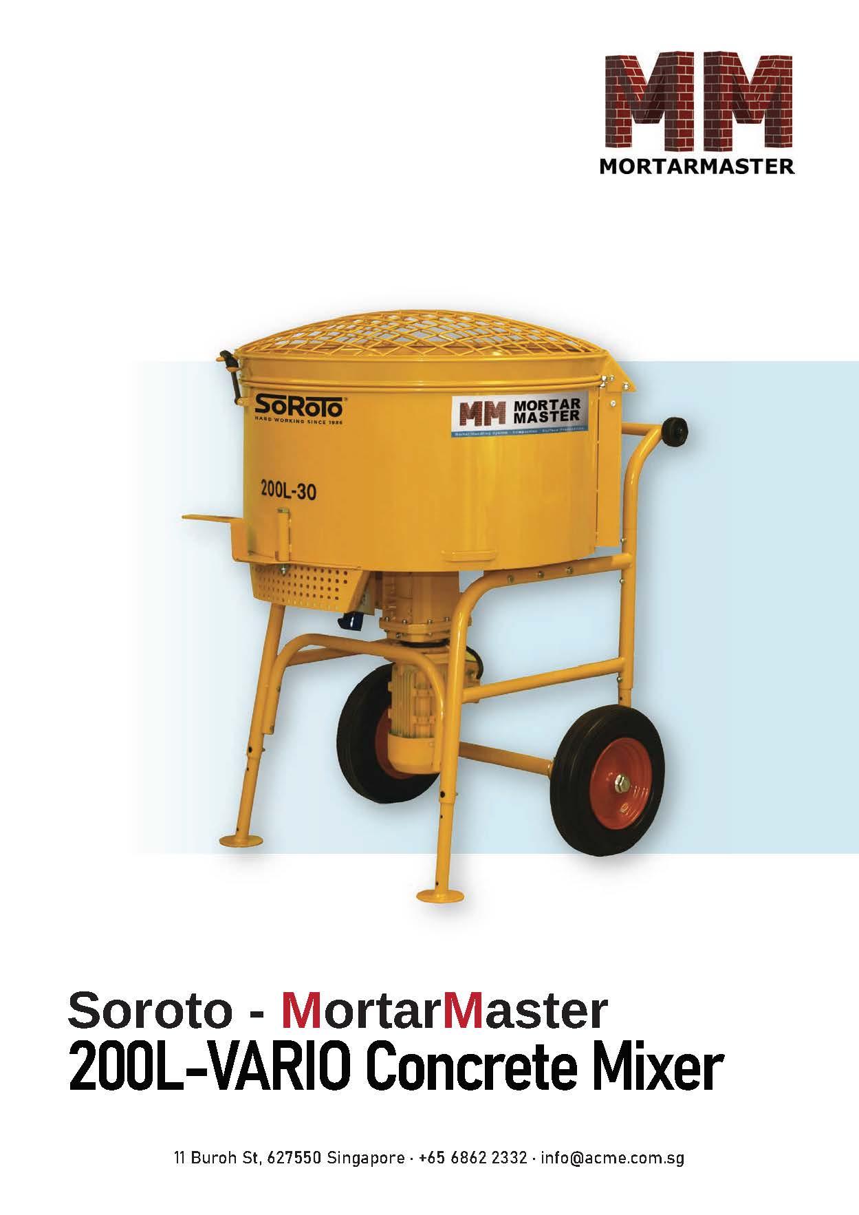 Mortar Master Concrete Mixer Brochure