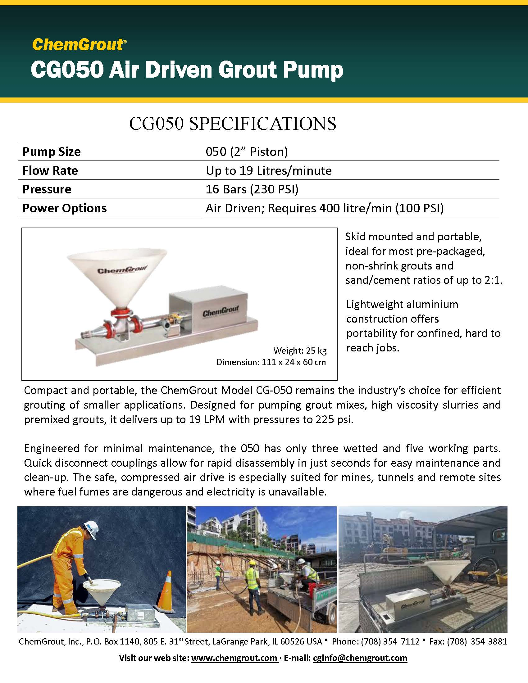 ChemGrout CG050 Mini Air Powered Grout Pump Brochure