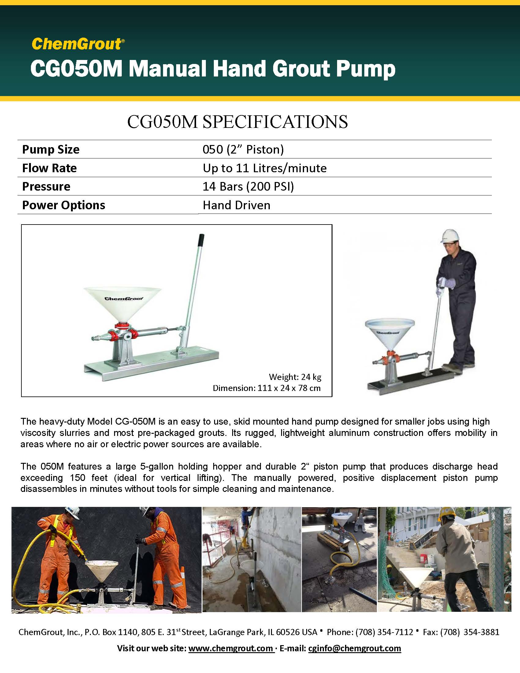 Chemgrout CG050M Manual Grout PumpBrochure